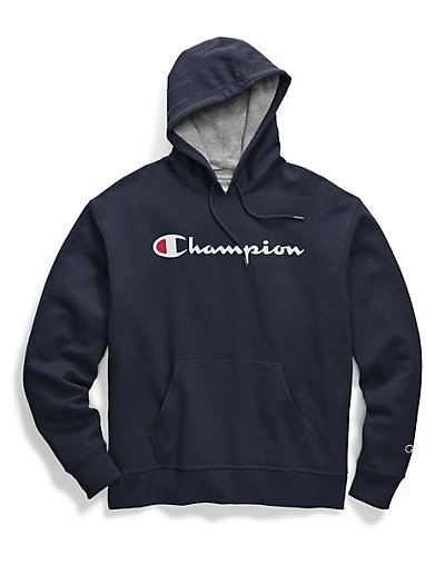 Champion Hoodie Men/'s Sweatshirt Script Logo Powerblend Pullover Kanga Pocket