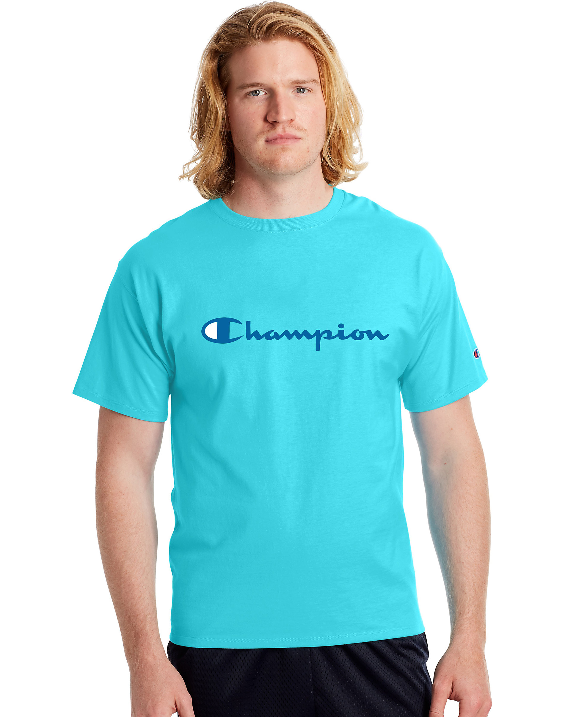 T-Shirt Mens Champion Jersey Tee Classic Script Logo Athletic Fit 100/% Cotton