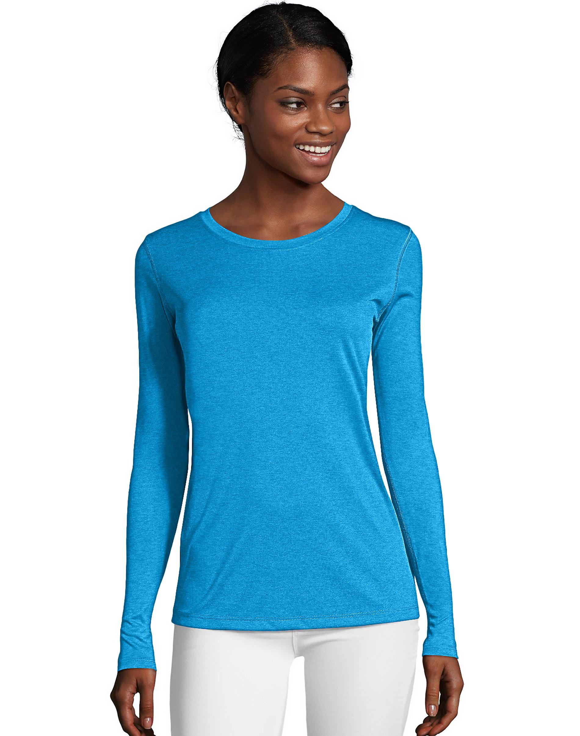 Hanes-Long-Sleeve-T-Shirt-Sport-Cool-DRI-Womens-Performance-Tee-Activewear-S-2XL thumbnail 7