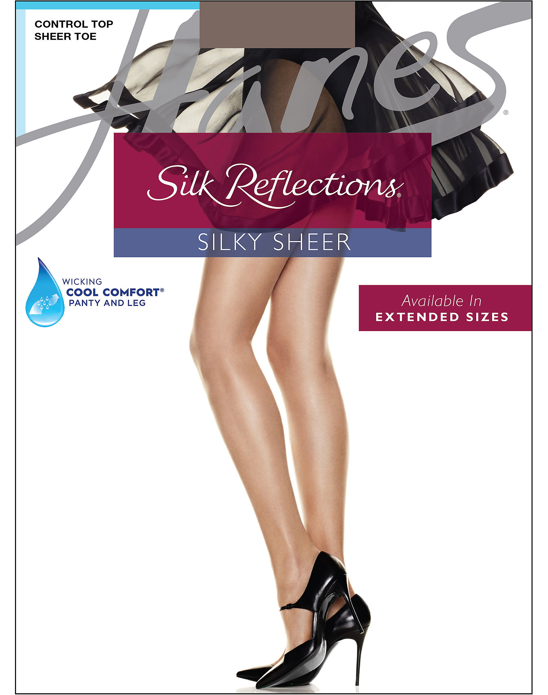 ba027bfd2ec49 Hanes Silk Reflections Control Top, Sandalfoot Pantyhose 4-Pack | eBay
