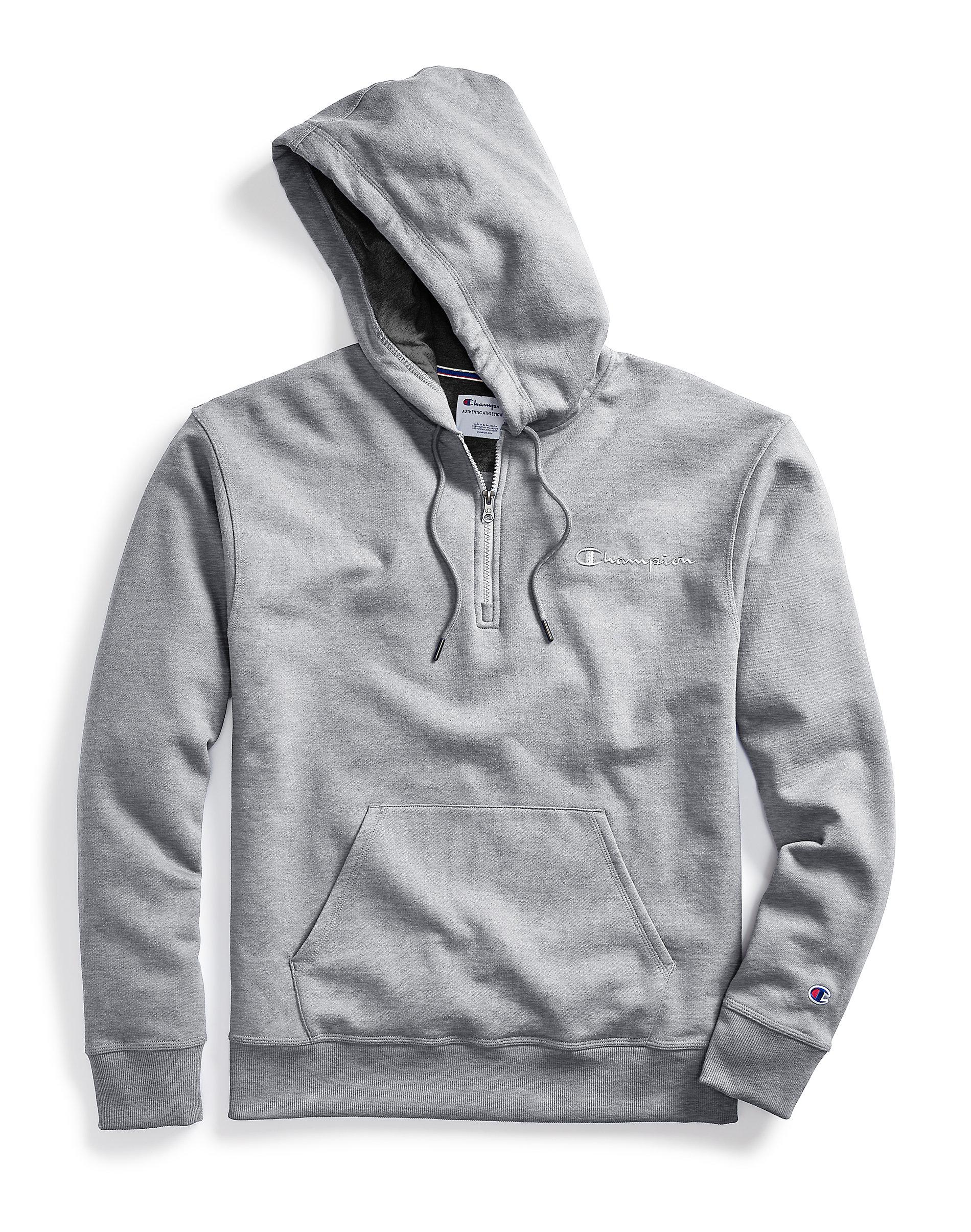 Details zu Hoodie Sweatshirt Champion Men's Powerblend Fleece Quarter Zip Embroidered Logo