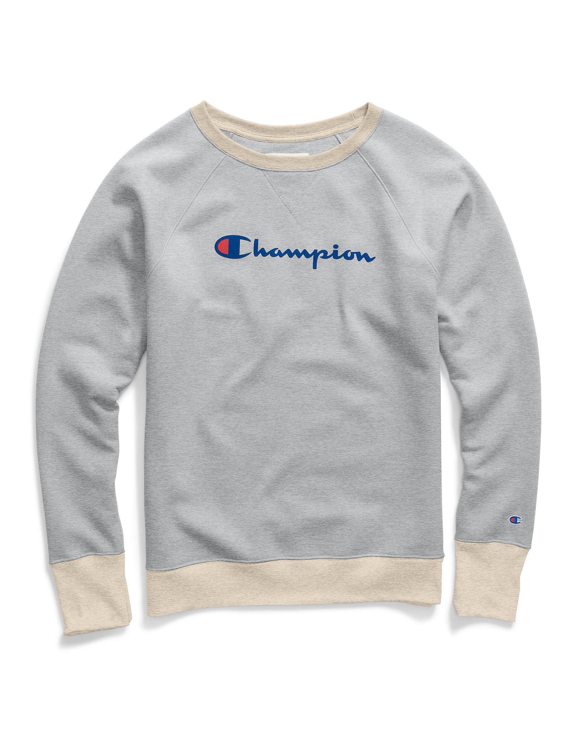Champion Sweatshirt Womens Script Logo Fleece Boyfriend Crew Neck Powerblend