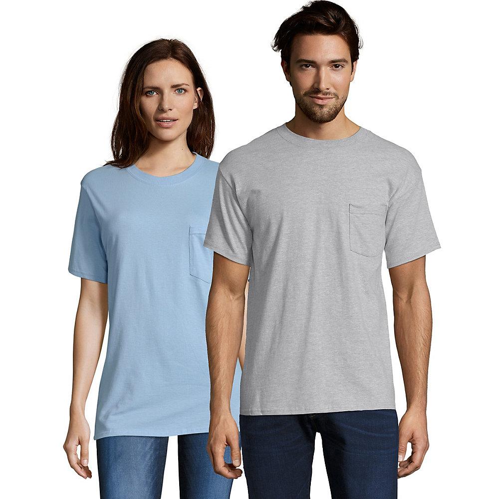 Hanes Men/'s FreshIQ  ComfortBlend Pocket T-Shirts 4-Pack Gray Black