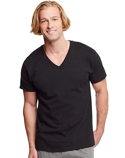 Hanes 7883B3  Classics Men Traditional Fit Comfortsoft Reg Tagless Reg Dyed Black V Neck Undershirt 3 Pack