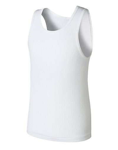 Hanes BU372C Boys  Ultimate Comfortsoft Reg White Tank Undershirt 5 Pack