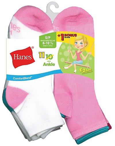 Hanes G40/11  Comfortblend Reg Ez Sort Reg Girls Ankle Socks 11 Pack Includes 1 Free Bonus Pair