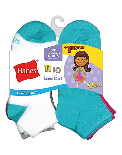 Hanes G42/11  Comfortblend Reg Ez Sort Reg Girls Low Cut Socks 11 Pack Includes 1 Free Bonus Pair