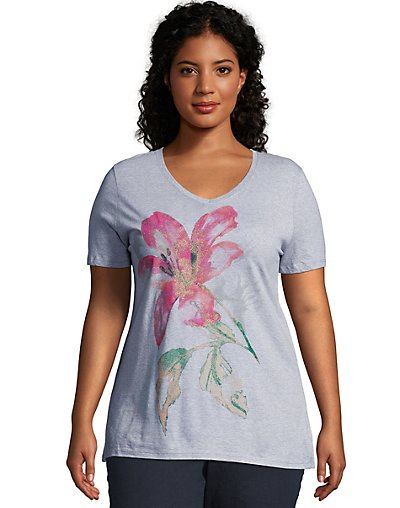 J M S GTJ181 Y06069 Jms Tropical Flower Short Sleeve Graphic Tee