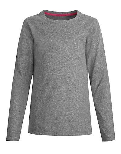 Hanes OK123  Girls Long Sleeve Crewneck T Shirt
