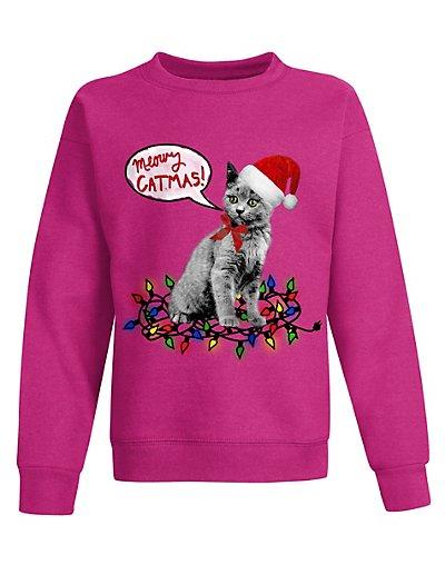 Hanes OK923  Girls Ugly Christmas Sweatshirt