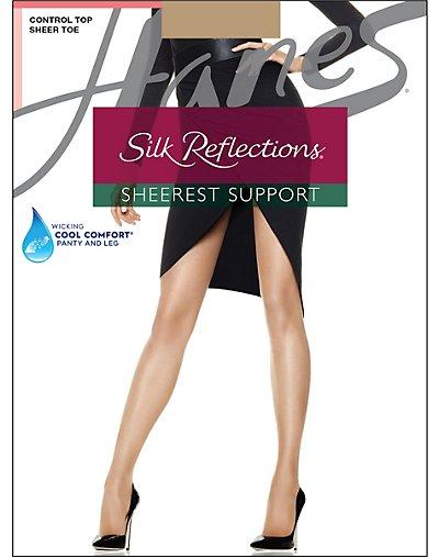 Hanes 0B750  Silk Reflections Sheerest Support Control Top Sheer Toe