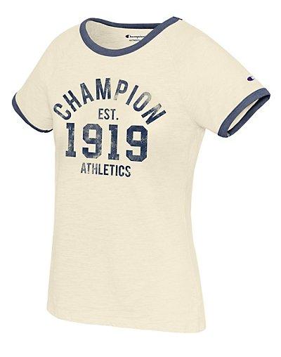 Champion W9843G 549660  Women Heritage Ringer Tee  Est 1919
