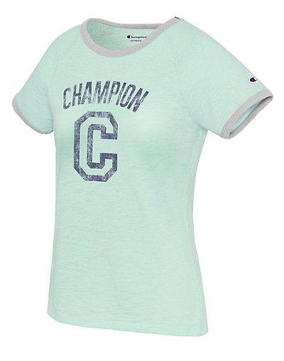 Champion W9843G 549691  Women Heritage Ringer Tee Big C