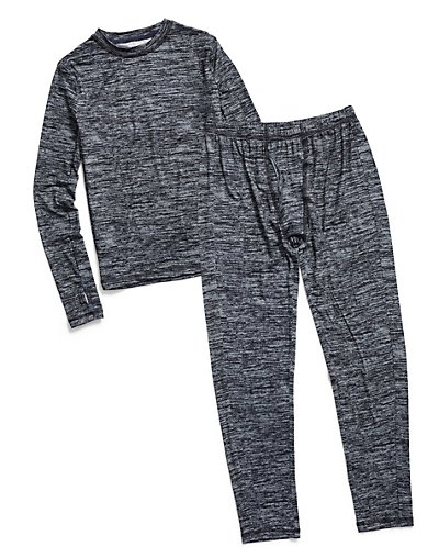 Climate Essentials by Cuddl Duds Boys' Essential Poly Thermals Set Grey Space Dye L