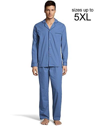 Hanes Men's Woven Pajamas Medium Blue 2XL
