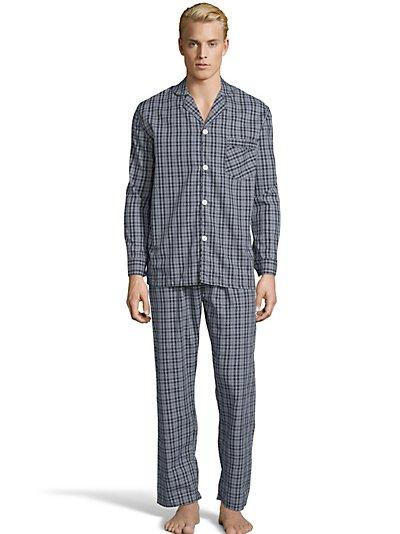 Hanes Men's Woven Pajamas Navy/Grey Plaid XL