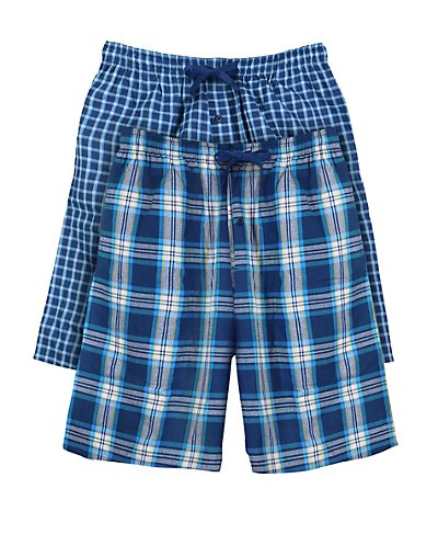 Hanes Men's Woven Plaid Shorts 2-Pack Blue/Light Blue S