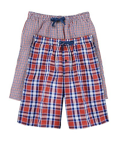 Hanes Men's Woven Plaid Shorts 2-Pack Solid Blue/Orange Blue S