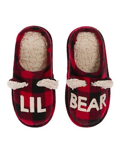 Dearfoam Dearfoams Lil Bear Plaid Clog Slipper Red 2/3