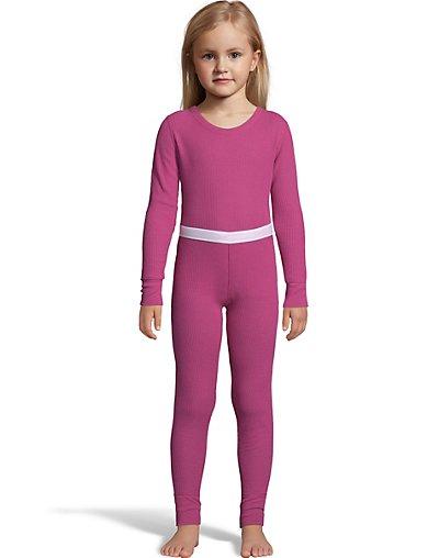 Image of Hanes X-Temp3; Girls' Organic Cotton Thermal Set Hot Pink L