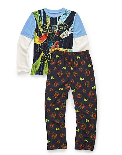 Hanes Boys' Sleepwear 2-Piece Set, Super Gamer Print 4/5