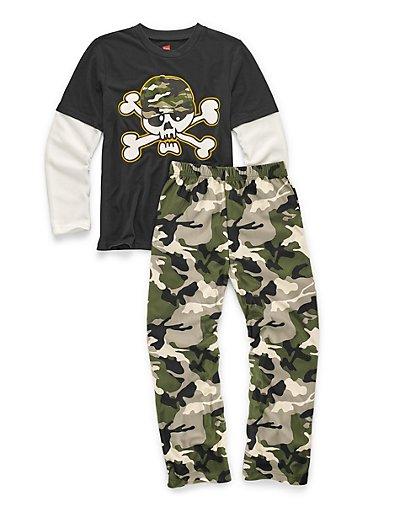 Hanes Boys' Sleepwear 2-Piece Set, Camo Skull Print 4/5