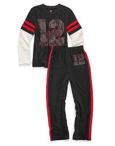 Hanes Boys' Sleepwear 2-Piece Set, Varsity Print 4/5