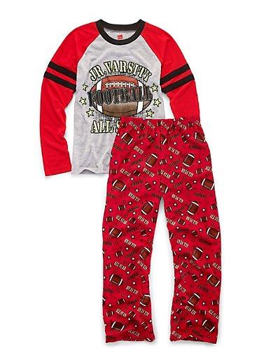 Hanes Boys' Sleepwear 2-Piece Set, JV All-Star Print 4/5