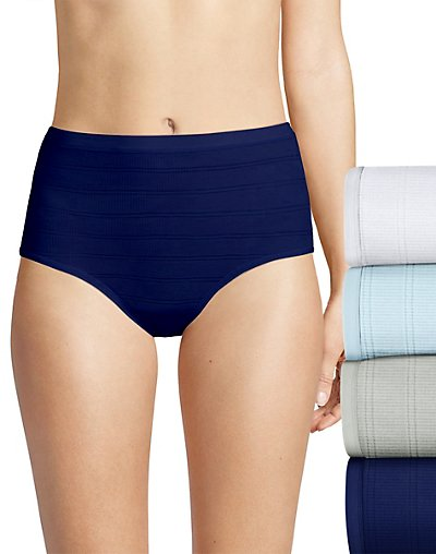 Hanes Ultimate Comfort Flex Fit Brief 4-Pack White/Blue Bling/Sterling Grey/Coil Blue 5