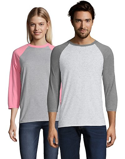 Hanes X-Temp Unisex Performance Baseball Tee Light Steel/Charcoal Heather 2XL