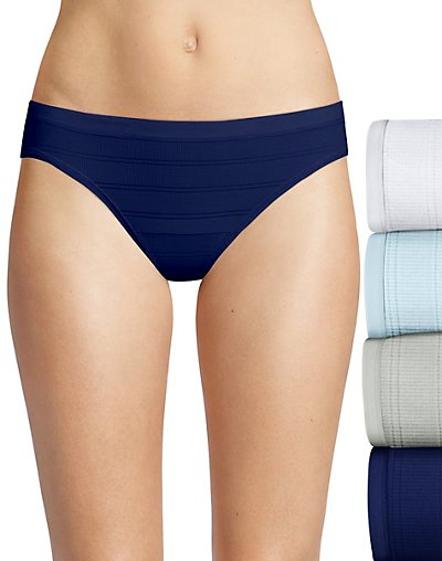 Hanes Ultimate Comfort Flex Fit Bikini 4-Pack White/Blue Bling/Sterling Grey/Coil Blue 5