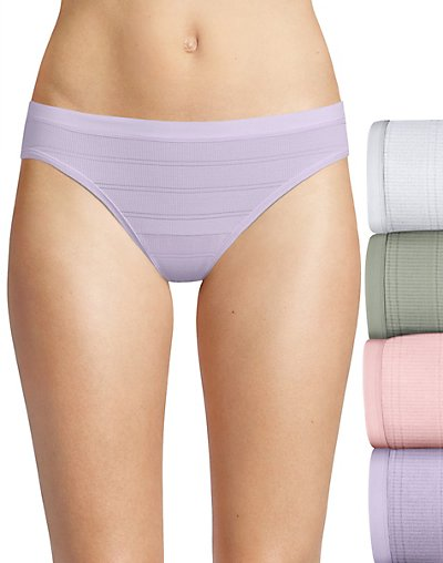 Hanes Ultimate Comfort Flex Fit Bikini 4-Pack White/Silver Shadow/Ballerina Slipper/Misty Lilac 6