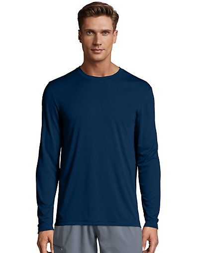 Hanes Sport Men's FreshIQ Cool DRI Long Sleeve Tee Navy S