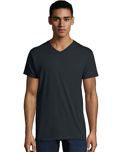 Hanes Men's Nano-T V-Neck T-Shirt Black 3XL