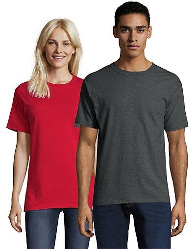 Hanes Beefy-T Crewneck Short-Sleeve T-Shirt Charcoal Heather 2XL