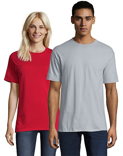 Hanes Beefy-T Crewneck Short-Sleeve T-Shirt Ice Gray S