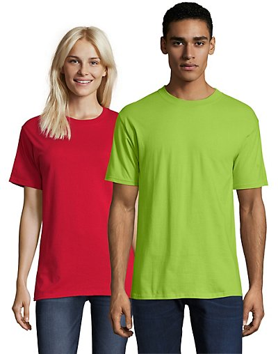 Hanes Beefy-T Crewneck Short-Sleeve T-Shirt Lime L