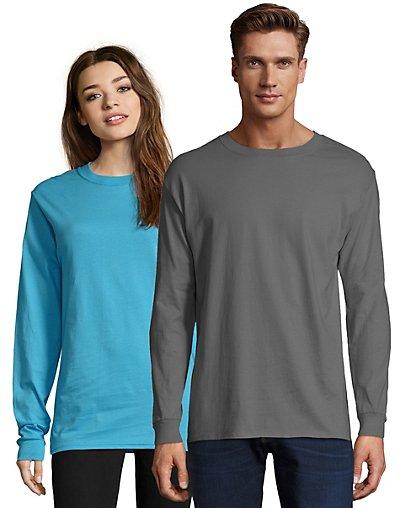 Hanes Adult Beefy-T Long-Sleeve T-Shirt Smoke Gray S
