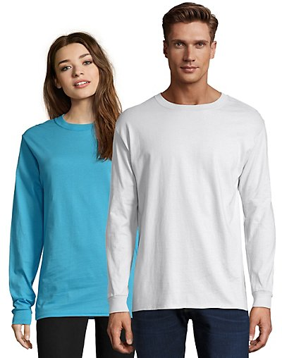 Hanes Adult Beefy-T Long-Sleeve T-Shirt White S