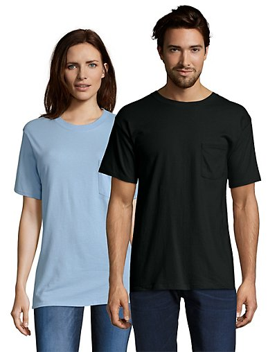 Hanes Beefy-T Adult Pocket T-Shirt Black M