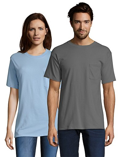 Hanes Beefy-T Adult Pocket T-Shirt Smoke Gray S