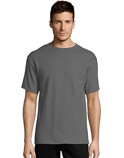Hanes Men's TAGLESS Short-Sleeve T-Shirt Smoke Gray S
