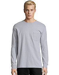 dce3a0f9 image of Hanes Men's TAGLESS® Long-Sleeve T-Shirt with Pocket with sku