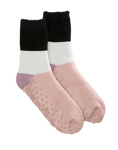 Dearfoams Women's Cabin Multi Colored Slipper Sock Black ONE SIZE