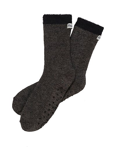 Dearfoams Women's Marled Knit Cabin Sock Slipper Black ONE SIZE