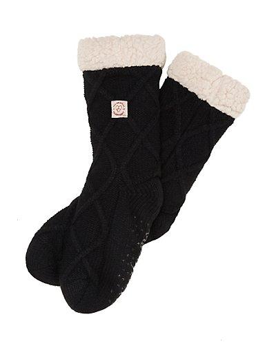 Dearfoams Women's Lattice Knit Blizzard Sock Black Frost ONE SIZE
