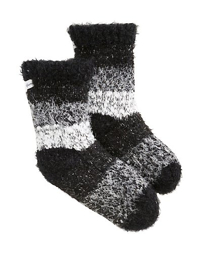 Dearfoams Women's Eyelash Knit Flurry Sock Slipper Black ONE SIZE
