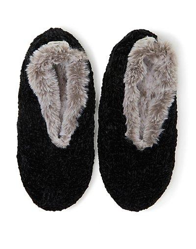 Dearfoams Women's Chenille Knit Toasty Slipper Sock Black Frost M-L
