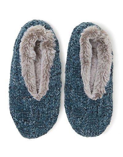 Dearfoams Women's Chenille Knit Toasty Slipper Sock Deep Aqua S/M