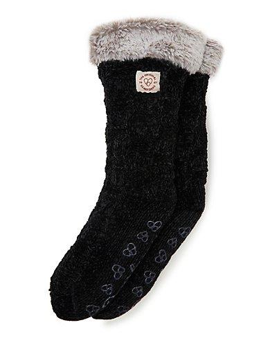 Dearfoams Women's Chenille Knit Blizzard Slipper Sock Black ONE SIZE